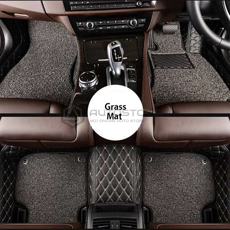 9D Grass Floor Mat Black with Grey
